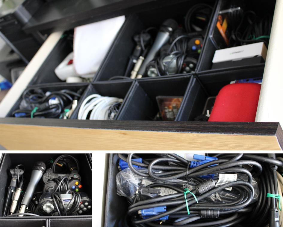 Rangement pour câbles et accessoires électroniques