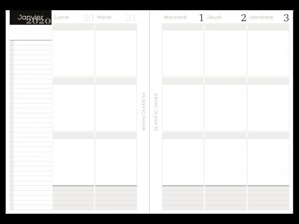 Agenda Semainier sur 4 pages - 3 blocs zones - Jours ouvrés - Planific