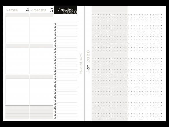 Agenda Semainier sur 4 pages - 3 blocs zones - Weekend - Planific