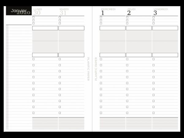 Agenda Semainier sur 4 pages - Jours ouvrés - Planific