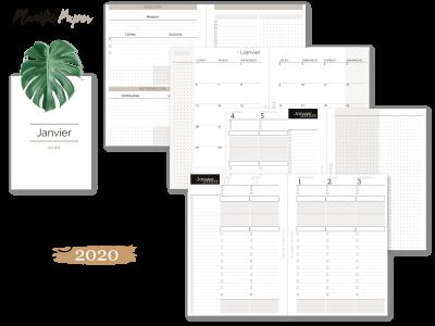 Agenda-Planner 2020 français Semainier sur 4 pages todo list - objectifs-mois-semaines-weekend - Planific paper A5TD4P