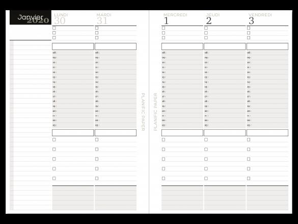 Agenda Semainier sur 4 pages - Heures - Jours ouvrés - Planific