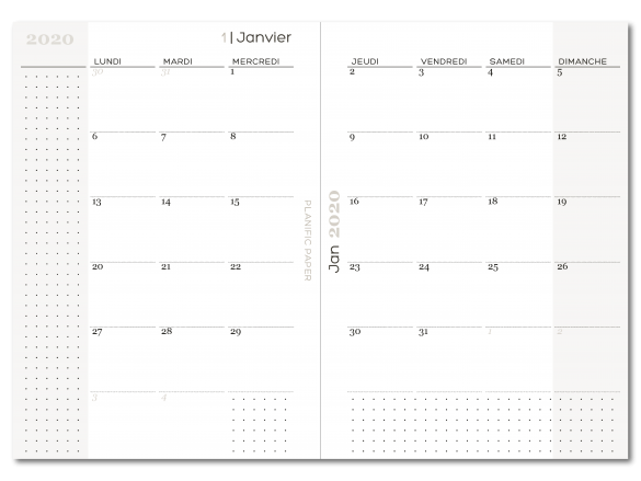Agenda Semainier sur 4 pages - Vue mensuelle - Planific