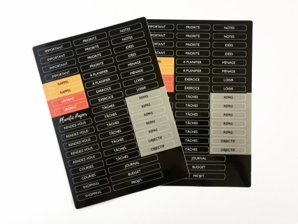 Planches de stickers de titre libellé pour agenda planner en français bullet journal - planner stickers A5 - Planific Paper