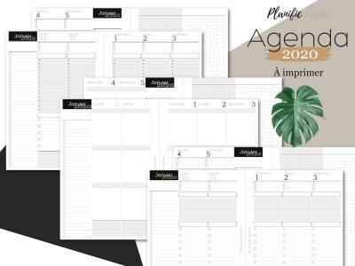 Planific paper - Pack 3 Agenda 2020 à imprimer - todo list liste de tâches par heures 3 blocs zones