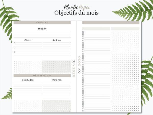Agenda Semainier 2020 sur 4 pages - Fiche productivité mensuelle - Planific paper