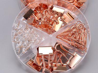 Planific paper - fournitures de bureau rose gold, assortiment pinces, trombonne, punaises or rose et transparent - boîte