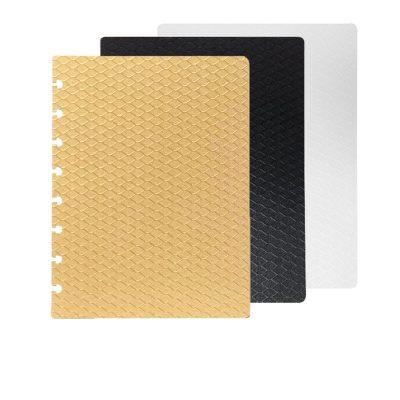 Séparateur A5 Reliure à Disques discbound planner seperator - colors - or gold noir blanc marbre rose vert violet marron cuir