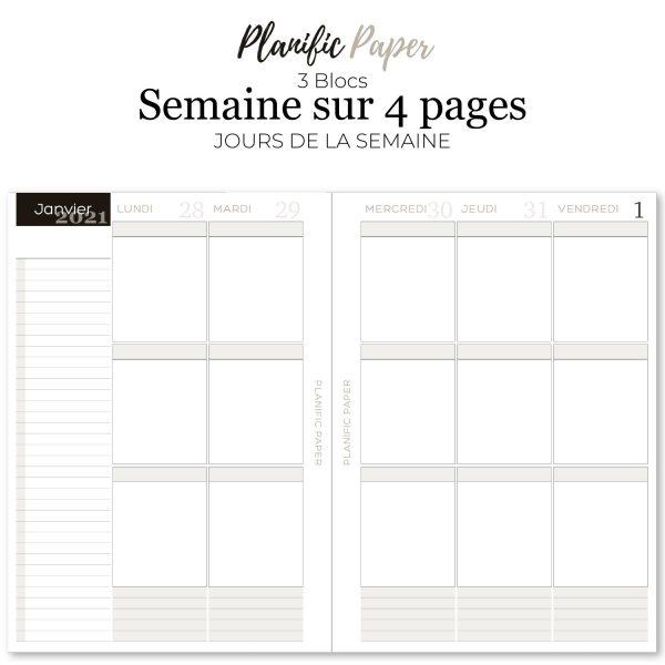 Agenda-Planner 2021 français Semainier sur 4 pages - 3 blocs zones - objectifs-mois-semaines-weekend - Planific paper A53Z4P - Semaine sur 4 pages - Jours de la semaine