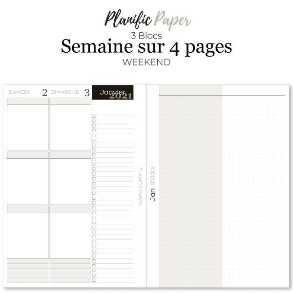 Agenda-Planner 2021 français Semainier sur 4 pages - 3 blocs zones - objectifs-mois-semaines-weekend - Planific paper A53Z4P - Semaine sur 4 pages - Grand Weekend