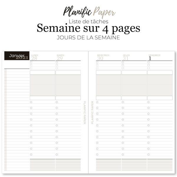 planner-Agenda to do list 2021 à imprimer en français Semainier sur 4 pages liste de tâches - objectifs-mois-semaines-weekend - Planific paper A5TD4P - Jours de la semaine
