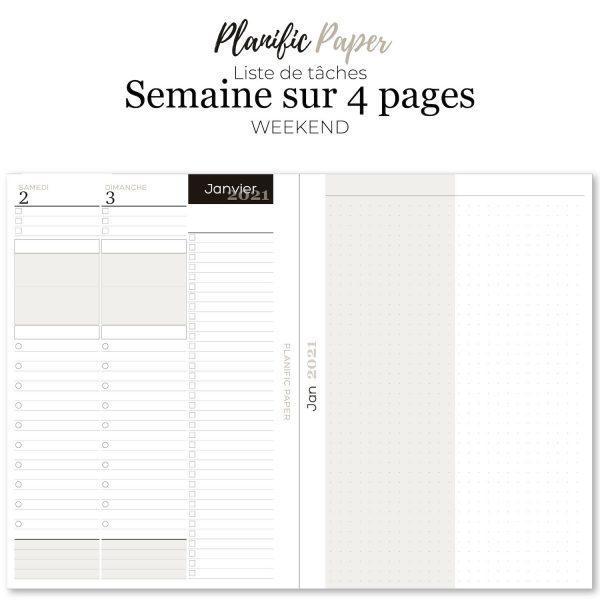 planner-Agenda to do list 2021 à imprimer en français Semainier sur 4 pages liste de tâches - objectifs-mois-semaines-weekend - Planific paper A5TD4P - Grand Weekend