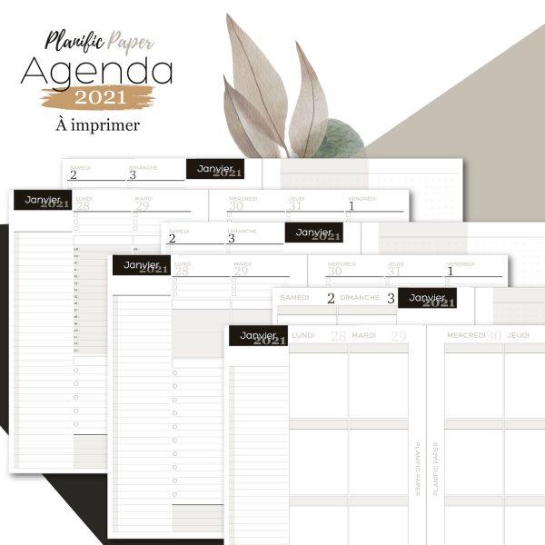Agenda-Planner A5 2021 français - Pack Semainier sur 4 pages - Heures - todolist - 3 blocs - objectifs-mois-semaines-weekend - Planific paper