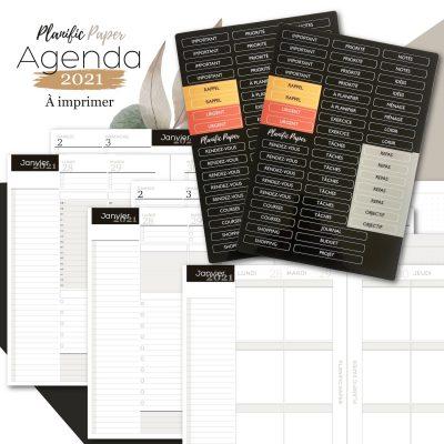 Agenda-Planner A5 2021 français - Pack Semainier sur 4 pages avec Stickers - Heures - todolist - 3 blocs - objectifs-mois-semaines-weekend - Planific paper