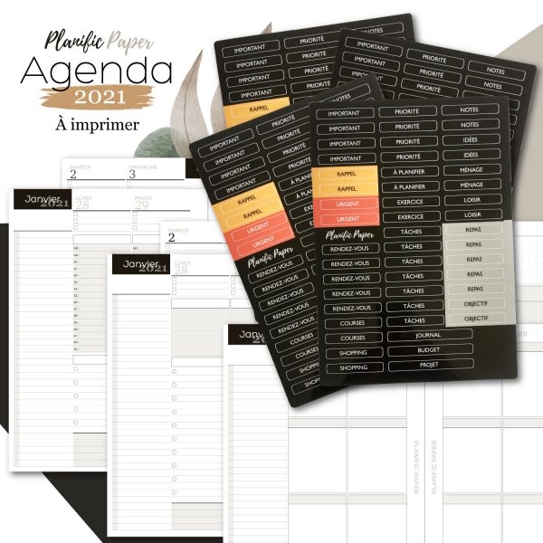 Agenda-Planner A5 2021 français - Pack Semainier sur 4 pages avec Stickers x4 - Heures - todolist - 3 blocs - objectifs-mois-semaines-weekend - Planific paper