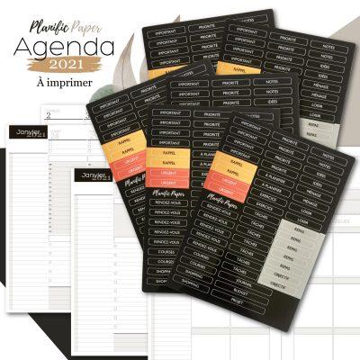 Agenda-Planner A5 2021 français - Pack Semainier sur 4 pages avec Stickers x6 - Heures - todolist - 3 blocs - objectifs-mois-semaines-weekend - Planific paper