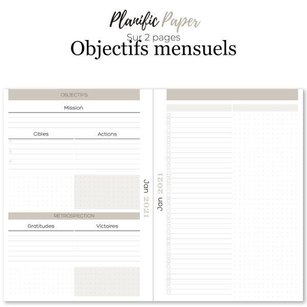 Agenda-Planner 2021 français Semainier sur 4 pages todo list - objectifs-mois-semaines-weekend - Planific paper A5 - Objectifs mensuels