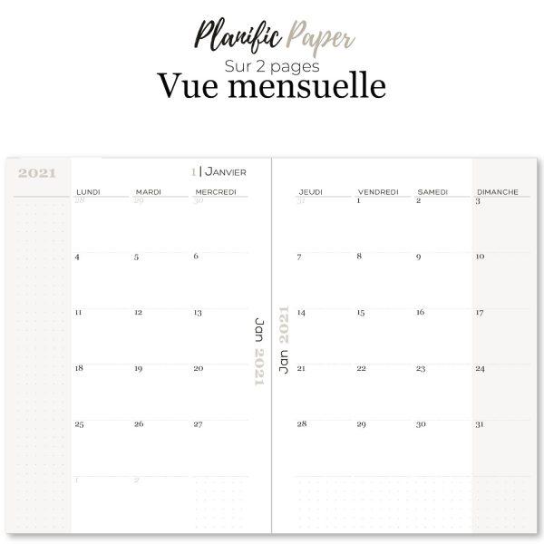 Agenda-Planner 2021 français Semainier sur 4 pages todo list - objectifs-mois-semaines-weekend - Planific paper A5 - Vue mensuelle