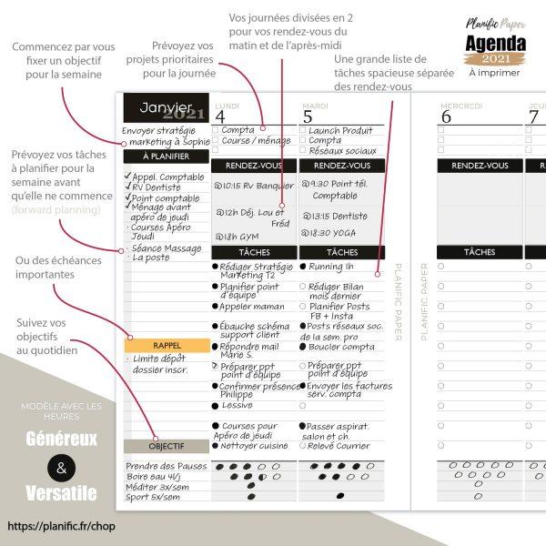 Agenda to do list 2021 à imprimer - idée d'utilisation - avec stickers - régulier